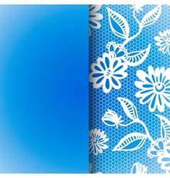 Blue seamless floral vintage lace background vector image vector image