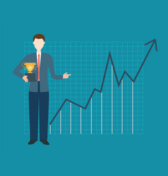 businessman is holding trophy vector image vector image