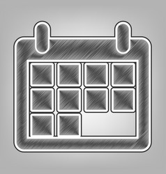 Calendar sign pencil sketch vector