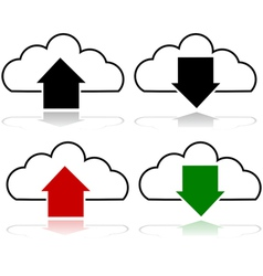 Cloud upload and download vector image