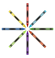 Color crayons ring with the ends toward the center vector image