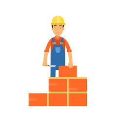 Construction worker bricklayer making a brickwork vector