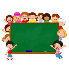 Crowd children with chalkboard vector
