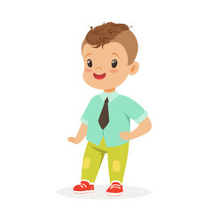 Cute smiling little boy dressed in fashion clothes vector