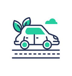 Eco car - modern single line icon vector