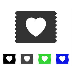 Heart condom pack flat icon vector
