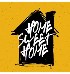 Home sweet home on house silhouette vector