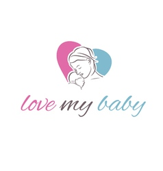 icon mother and her baby in shape heart vector image