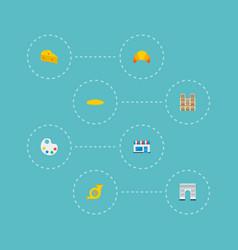 Icons flat style triumphal arch baguette notre vector