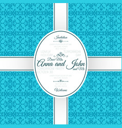 invitation card with blue arabic pattern vector image vector image