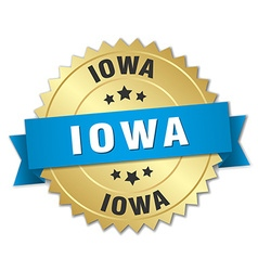 Iowa round golden badge with blue ribbon vector