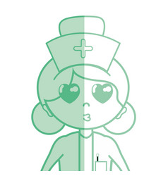 Kawaii professional nurse with hat in the head vector