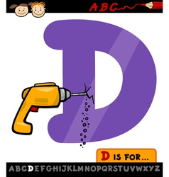 letter d with drill cartoon vector image vector image