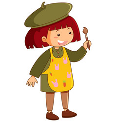 little girl with apron and paintbrush vector image