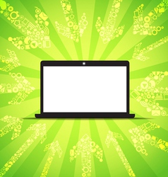 Media content goes to modern laptop vector image vector image