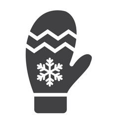 mitten glyph icon new year and christmas xmas vector image vector image