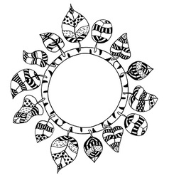 Monochrome Doodle leafs frame vector image