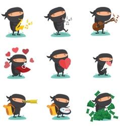 Ninja mascot set 5 vector