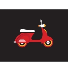 Red retro vintage delivery motor bike icon vector image vector image