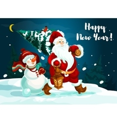 Santa and snowman with pine tree and gifts vector