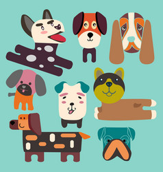 set a cute dogs head flat collection vector image vector image