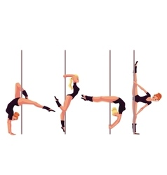 Set of four young pole dance women vector