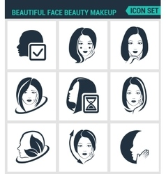 Set of modern icons beautiful face beauty vector