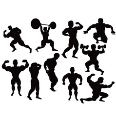 silhouette of bodybuilder vector image vector image