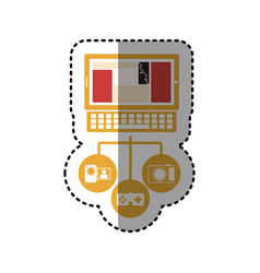Sticker tech laptop computer database server icon vector