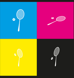 Tennis racquet sign white icon with vector