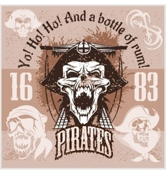 Vintage Pirate Labels or Design Elements With vector image vector image