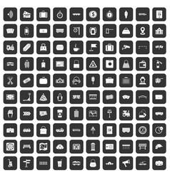 100 railway icons set black vector