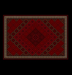 Oriental carpet with colored ornament on border vector