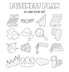 Business plan icons set outline style vector