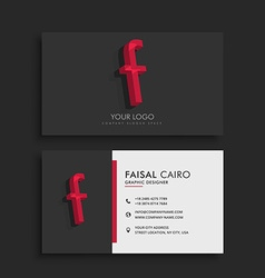 Clean dark business card with letter f vector