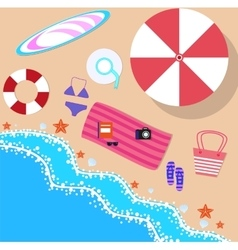 Summer beach in flat design sea side vector