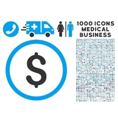 Dollar icon with 1000 medical business pictograms vector