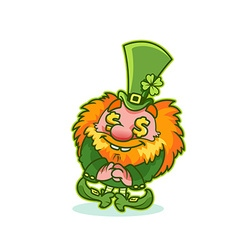 Funny leprechaun in green costume with gold fever vector