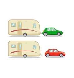 Car with the house on wheels trailer vector image