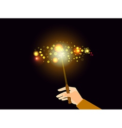 Hand holding a magic wand Magic bright light vector image