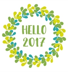 Hello 2017 new year green wreath isolated vector