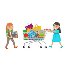 two little girls out on shopping at supermarket vector image