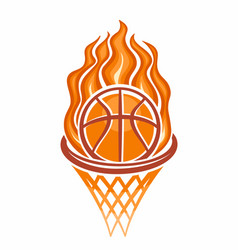 burning basketball ball in a basket vector image