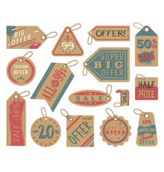 craft paper tag shop clothes sale stiker cardboard vector image
