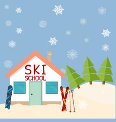 skiing winter season ski school mountains and vector image