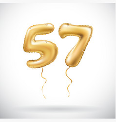 Golden number 57 fifty seven metallic balloon vector