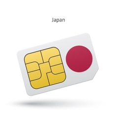 Japan mobile phone sim card with flag vector