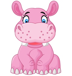 Cartoon happy hippo sitting vector