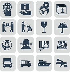 Logistics icons set on grey background vector