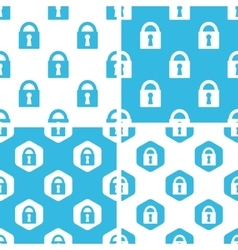 Locked padlock patterns set vector